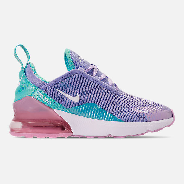 Right view of Girls' Little Kids' Nike Air Max 270 Casual Shoes in Unicorn Gel