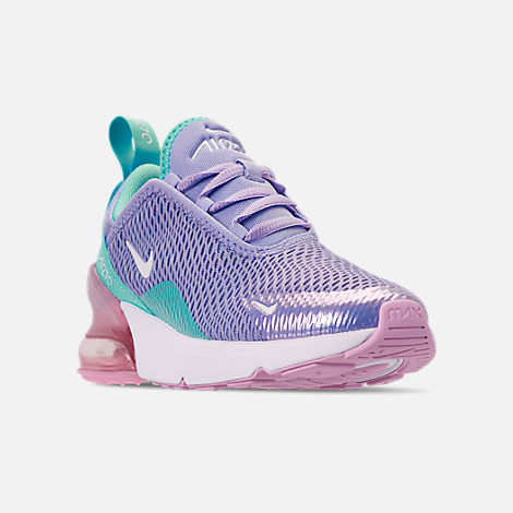 Three Quarter view of Girls' Little Kids' Nike Air Max 270 Casual Shoes in Unicorn Gel