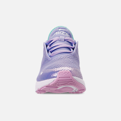 Front view of Girls' Little Kids' Nike Air Max 270 Casual Shoes in Unicorn Gel