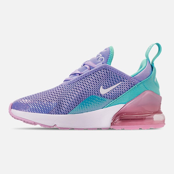 Left view of Girls' Little Kids' Nike Air Max 270 Casual Shoes in Unicorn Gel