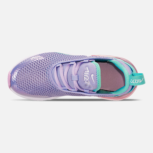 Top view of Girls' Little Kids' Nike Air Max 270 Casual Shoes in Unicorn Gel