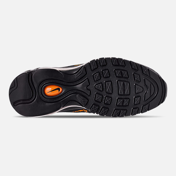 Bottom view of Boys' Big Kids' Nike Air Max 97 Pollux Casual Shoes in Off Noire/Orange Trance/Thunder Grey