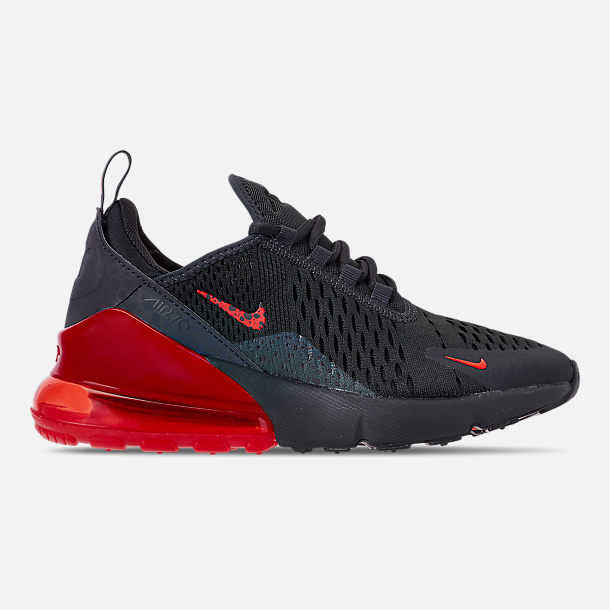Right view of Boys' Big Kids' Nike Air Max 270 SE Casual Shoes in Off Noir/Habanero Red/Thunder Grey