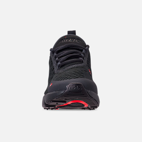 Front view of Boys' Big Kids' Nike Air Max 270 SE Casual Shoes in Off Noir/Habanero Red/Thunder Grey