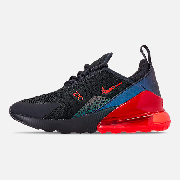 Left view of Boys' Big Kids' Nike Air Max 270 SE Casual Shoes in Off Noir/Habanero Red/Thunder Grey