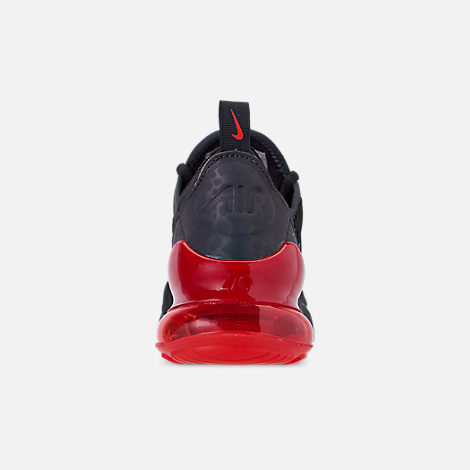 Back view of Boys' Big Kids' Nike Air Max 270 SE Casual Shoes in Off Noir/Habanero Red/Thunder Grey