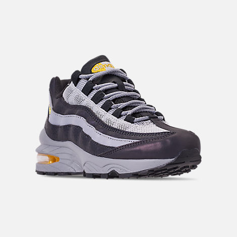 Three Quarter view of Boys' Big Kids' Nike Air Max 95 Mekbuda Casual Shoes in Off Noir/Dynamic Yellow/Atmosphere Grey