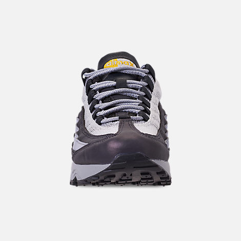 Front view of Boys' Big Kids' Nike Air Max 95 Mekbuda Casual Shoes in Off Noir/Dynamic Yellow/Atmosphere Grey