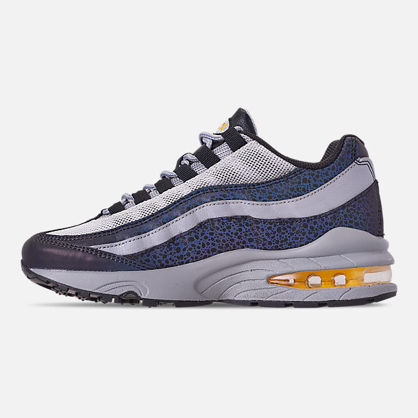 Left view of Boys' Big Kids' Nike Air Max 95 Mekbuda Casual Shoes in Off Noir/Dynamic Yellow/Atmosphere Grey