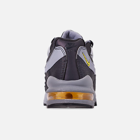 Back view of Boys' Big Kids' Nike Air Max 95 Mekbuda Casual Shoes in Off Noir/Dynamic Yellow/Atmosphere Grey
