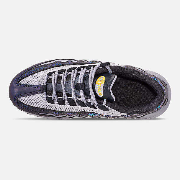 Top view of Boys' Big Kids' Nike Air Max 95 Mekbuda Casual Shoes in Off Noir/Dynamic Yellow/Atmosphere Grey