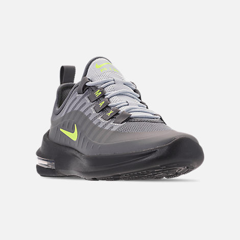 Three Quarter view of Big Kids' Nike Air Max Axis Casual Shoes in Anthracite/Volt/Cool Grey/Black/Purple