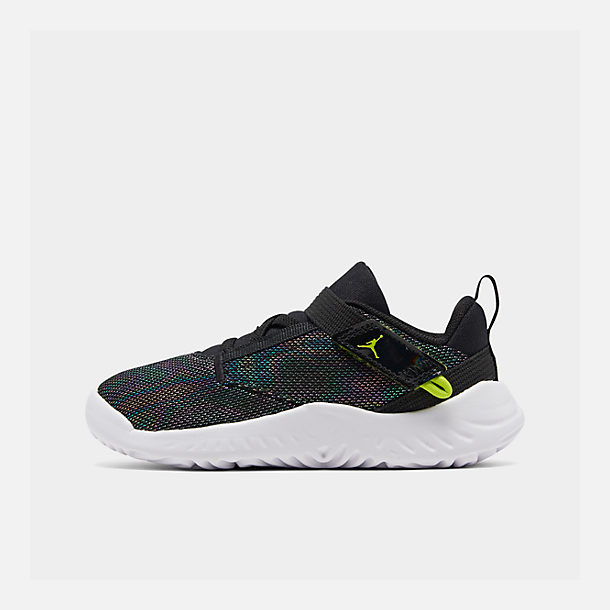 Right view of Boys' Toddler Jordan Proto 23 SE Training Shoes in Black/Cyber/Mystic Green