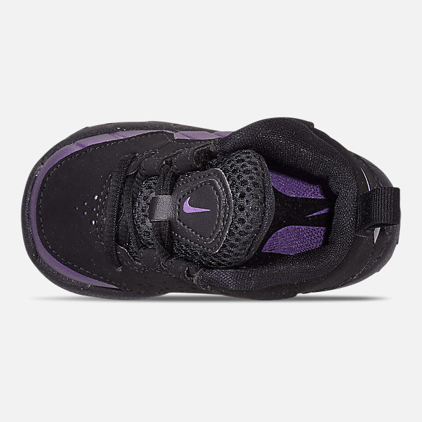Top view of Boys' Toddler Nike Wavy Basketball Shoes in Black/Black/Eggplant