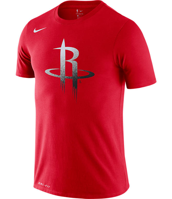 Front view of Men's Nike Houston Rockets NBA Mezzo Logo Performance T-Shirt in University Red