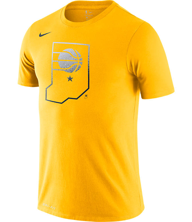 Front view of Men's Nike Indiana Pacers NBA Mezzo Logo Performance T-Shirt in Amarillo