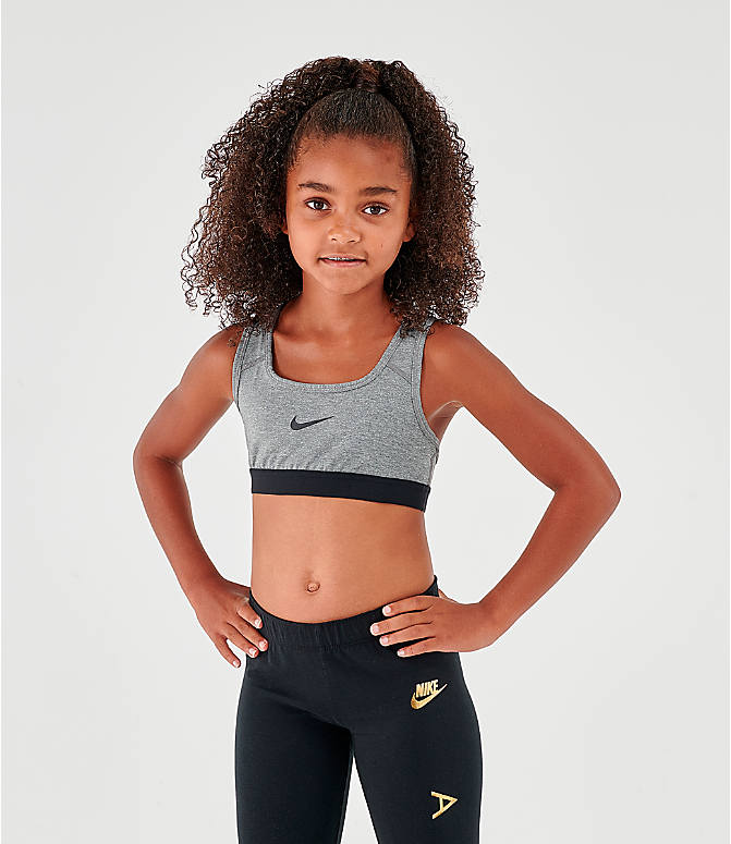 Front view of Girls' Nike Classic Sports Bra in Carbon Heather/Dark Grey/Black