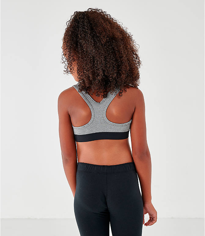 Back Left view of Girls' Nike Classic Sports Bra in Carbon Heather/Dark Grey/Black
