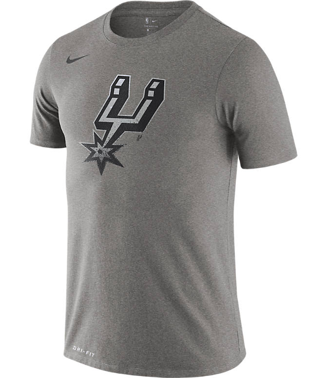 Front view of Men's Nike San Antonio Spurs NBA Mezzo Logo Performance T-Shirt in Dark Grey Heather