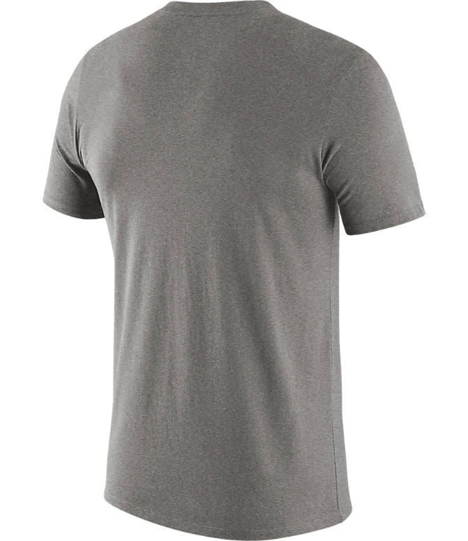 Back view of Men's Nike San Antonio Spurs NBA Mezzo Logo Performance T-Shirt in Dark Grey Heather