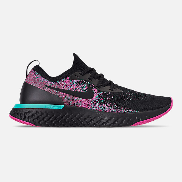Right view of Men's Nike Epic React Flyknit Running Shoes in Black/Black/Hyper Jade/Laser Fuchsia