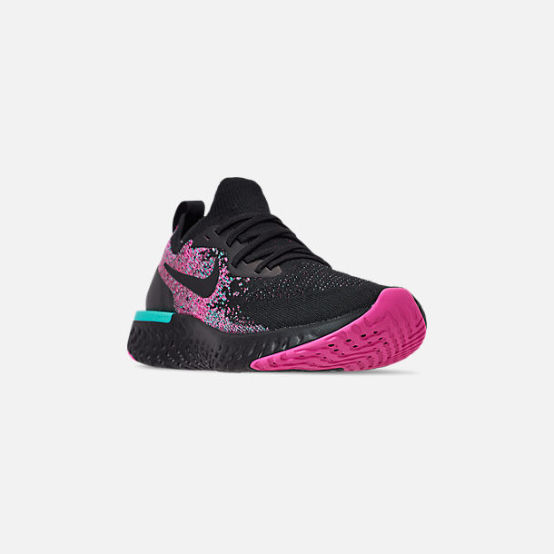Three Quarter view of Men's Nike Epic React Flyknit Running Shoes in Black/Black/Hyper Jade/Laser Fuchsia