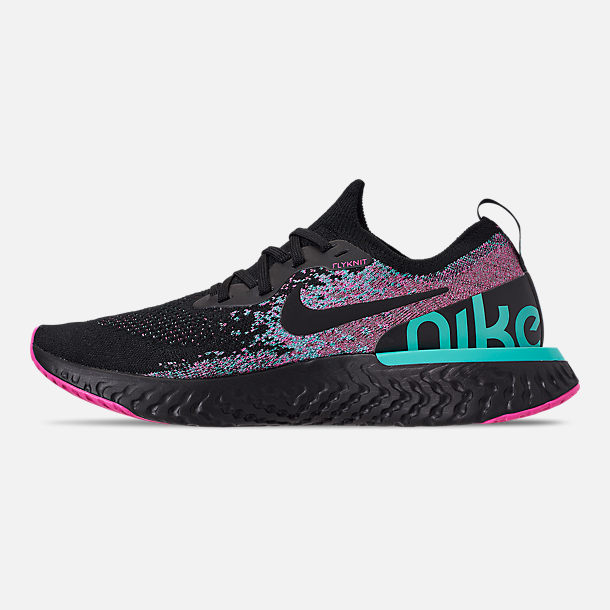 Left view of Men's Nike Epic React Flyknit Running Shoes in Black/Black/Hyper Jade/Laser Fuchsia