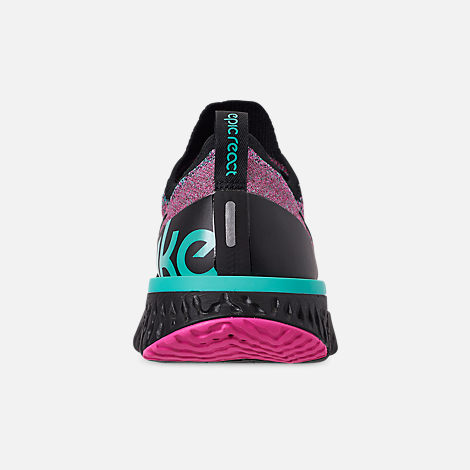 Back view of Men's Nike Epic React Flyknit Running Shoes in Black/Black/Hyper Jade/Laser Fuchsia