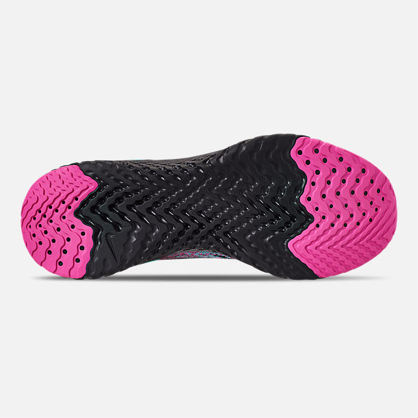 Bottom view of Men's Nike Epic React Flyknit Running Shoes in Black/Black/Hyper Jade/Laser Fuchsia