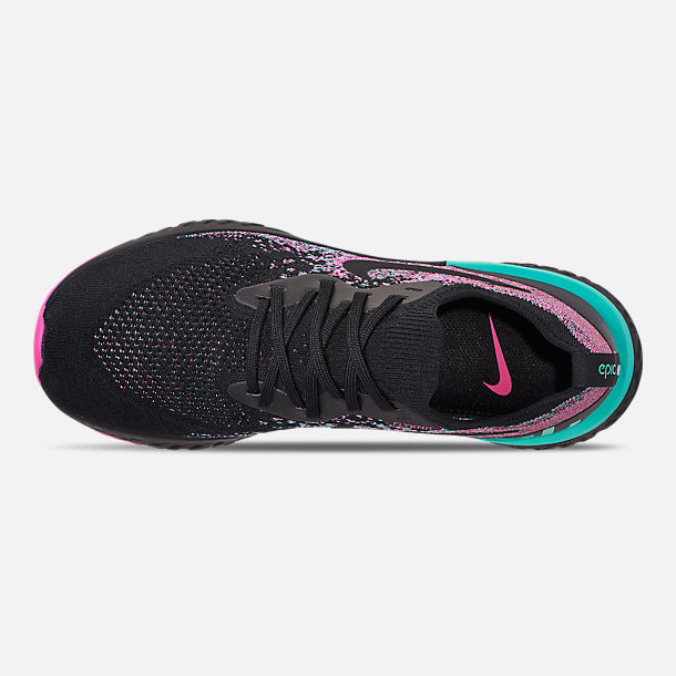 Top view of Men's Nike Epic React Flyknit Running Shoes in Black/Black/Hyper Jade/Laser Fuchsia