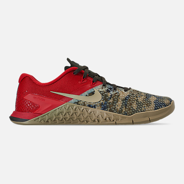 Right view of Men's Nike Metcon 4 XD Training Shoes in Camo/Red/Grey