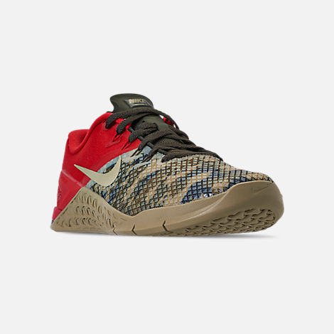 Three Quarter view of Men's Nike Metcon 4 XD Training Shoes in Camo/Red/Grey