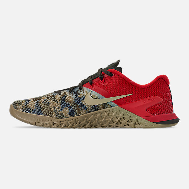 Left view of Men's Nike Metcon 4 XD Training Shoes in Camo/Red/Grey