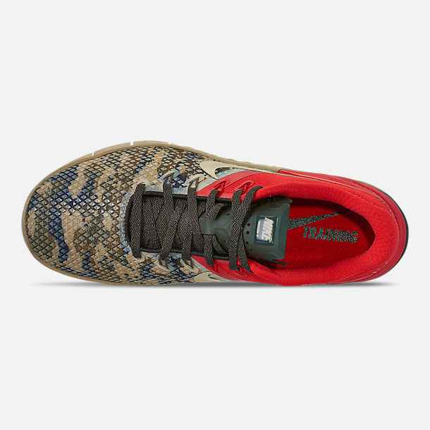 Top view of Men's Nike Metcon 4 XD Training Shoes in Camo/Red/Grey