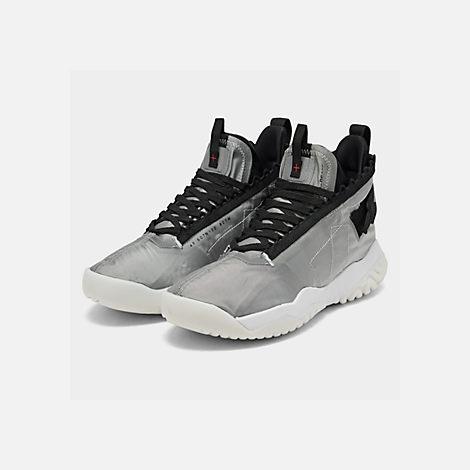 1c5d8a5e96af Three Quarter view of Men s Jordan Proto-React Basketball Shoes in Metallic  Silver Black