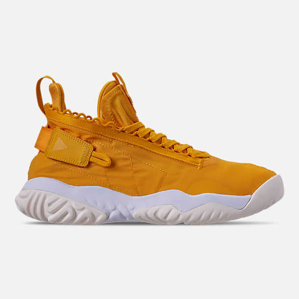 Right view of Men's Jordan Proto-React Basketball Shoes in University Gold/White