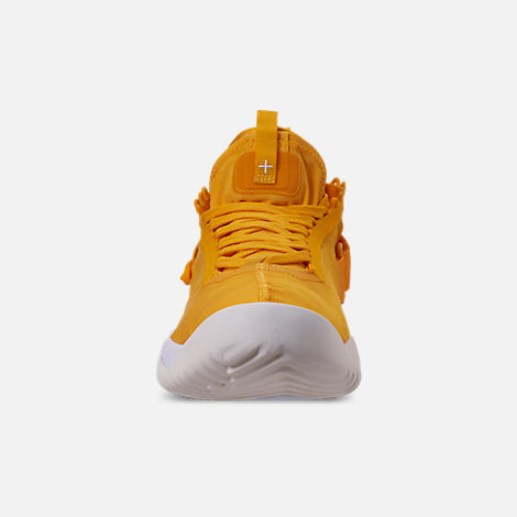 Front view of Men's Jordan Proto-React Basketball Shoes in University Gold/White