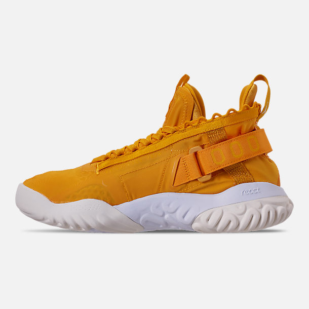 Left view of Men's Jordan Proto-React Basketball Shoes in University Gold/White