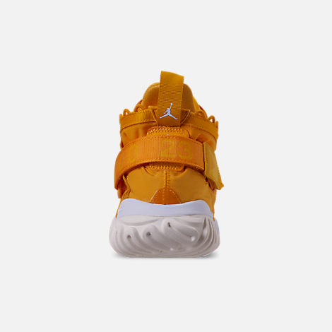 Back view of Men's Jordan Proto-React Basketball Shoes in University Gold/White