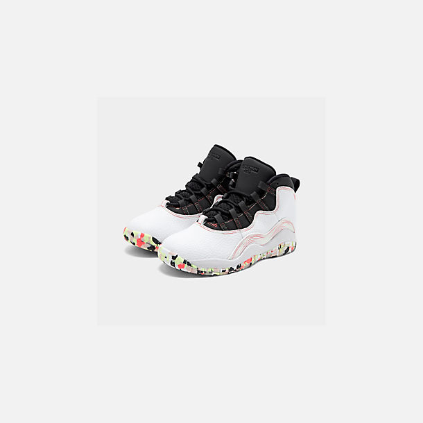 Three Quarter view of Girls' Little Kids' Air Jordan Retro 10 SE Basketball Shoes in White/Barely Volt/Black/Ember Glow