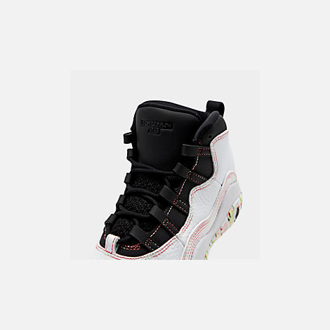 Front view of Girls' Little Kids' Air Jordan Retro 10 SE Basketball Shoes in White/Barely Volt/Black/Ember Glow