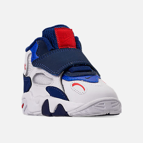 Three Quarter view of Boys' Toddler Nike Speed Turf Training Shoes in White/University Red/Blue Void