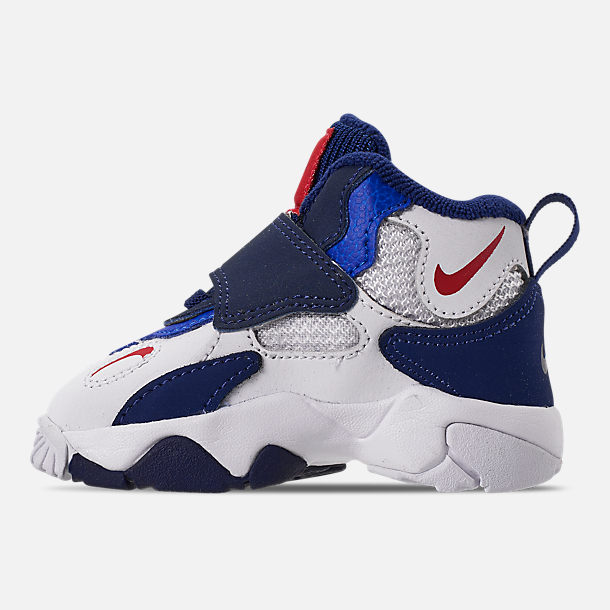 Left view of Boys' Toddler Nike Speed Turf Training Shoes in White/University Red/Blue Void