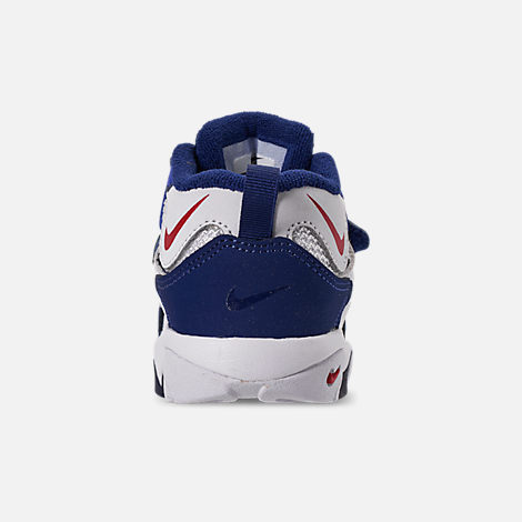 Back view of Boys' Toddler Nike Speed Turf Training Shoes in White/University Red/Blue Void