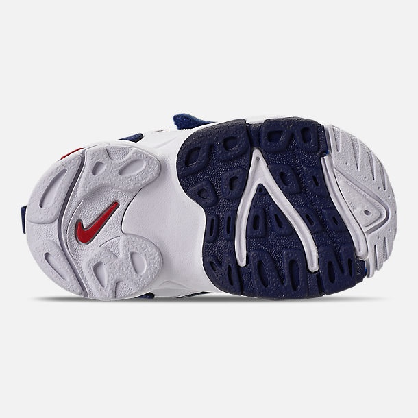 Bottom view of Boys' Toddler Nike Speed Turf Training Shoes in White/University Red/Blue Void