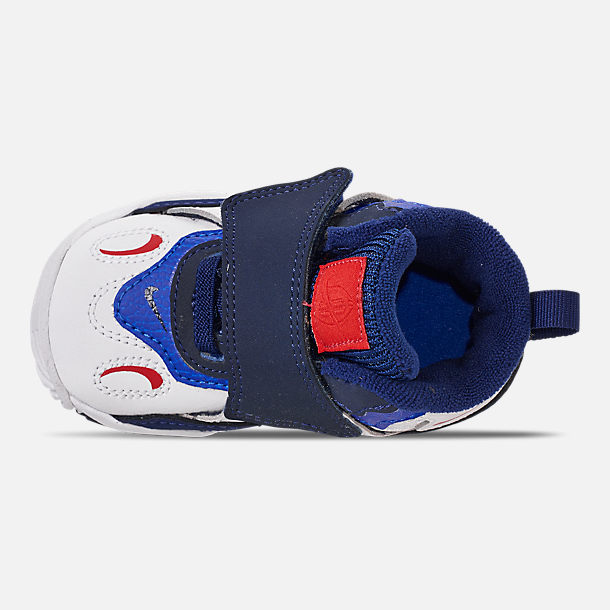 Top view of Boys' Toddler Nike Speed Turf Training Shoes in White/University Red/Blue Void