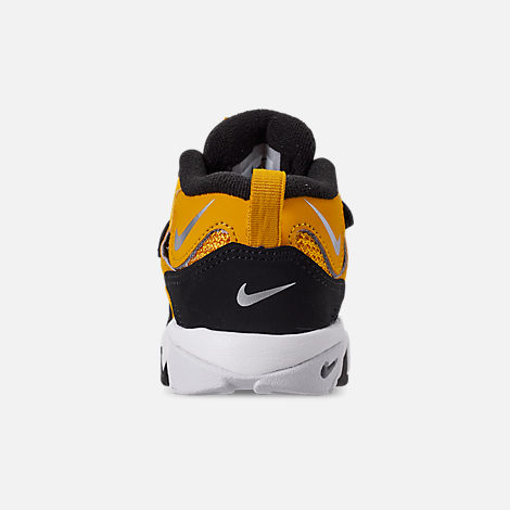 Back view of Boys' Toddler Nike Speed Turf Training Shoes in University Gold/Metallic Silver/White