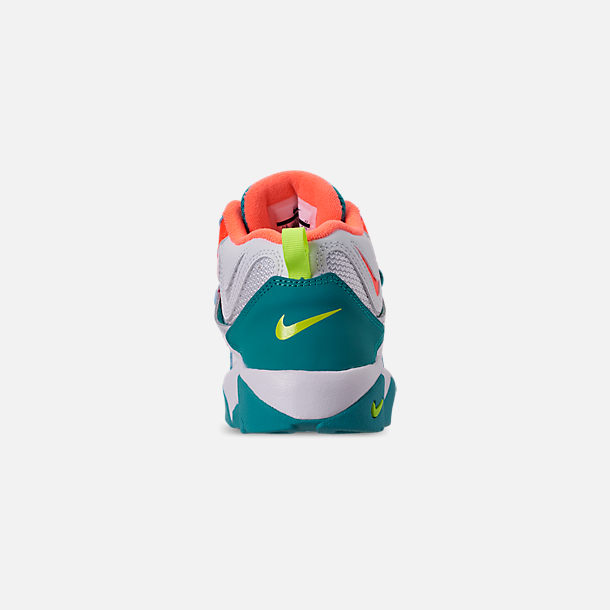 Back view of Boys' Little Kids' Nike Air Speed Turf Training Shoes in White/Bright Mango/Total Crimson