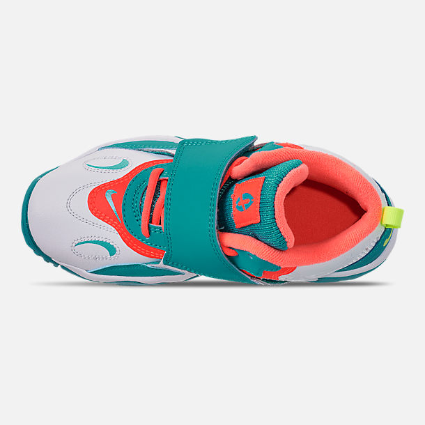 Top view of Boys' Little Kids' Nike Air Speed Turf Training Shoes in White/Bright Mango/Total Crimson