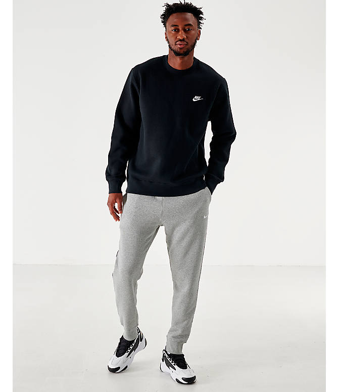 Front Three Quarter view of Men's Nike Sportswear Club Fleece Crewneck Sweatshirt in Black/White